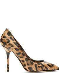 Dolce & Gabbana Tan Grained Leather Leopard Print Pump