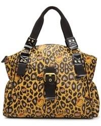 Tan Leopard Leather Satchel Bag