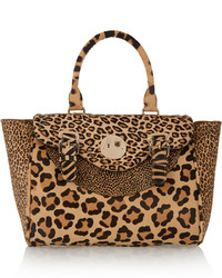 Happy satchel leopard print calf hair tote leopard print medium 399982