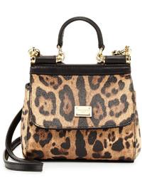 Miss sicily mini leopard print crossbody bag nudeblack medium 399987