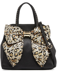 Betsey Johnson Oh Bow Sequined Faux Leather Satchel Bag Leopard Sequin