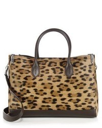 Ralph Lauren Leopard Print Calf Hair Leather East West Tote