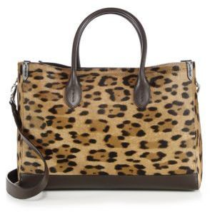 ad9e79ccb6 ... Ralph Lauren Leopard Print Calf Hair Leather East West Tote ...
