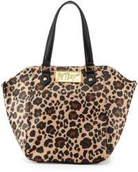 Betsey Johnson Leopard Print Hexagon Tote Bag Blacktan