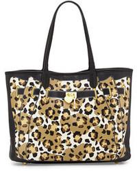 Betsey Johnson Leopard Print Illusion Tote Bag Black