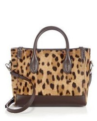 Ralph Lauren Mini Leopard Print Calf Hair Leather Tote