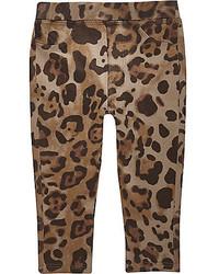 River Island Mini Girls Faux Suede Leopard Print Leggings