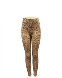 Pds online leopard print fashion leggings with zipper tights pants medium 90176