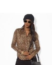 Tan Leopard Long Sleeve Blouse