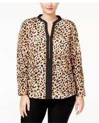 Calvin Klein Plus Size Printed Zip Front Blouse