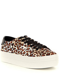 GUESS Alexea High Leopard Print Velvet Lace Up Platform Sneakers