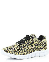 River Island Brown Leopard Print Sneakers