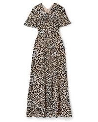 Temperley London Wild Cat Cutout Leopard Print Jersey Maxi Dress