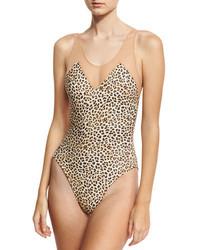 Norma Kamali Mio Racer Mesh One Piece Swimsuit Leopard