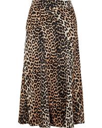 Ganni Blakely Leopard Print Stretch Silk Skirt
