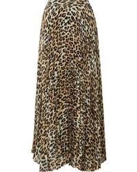 Alice + Olivia Katz Pleated Metallic Leopard Print Gauze Maxi Skirt