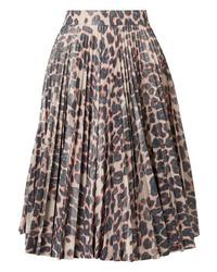 Calvin Klein 205W39nyc Pleated Leopard Print Taffeta Midi Skirt