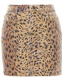 Denim mini skirt with leopard print medium 348925