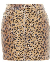Jeremy Scott Denim Mini Skirt With Leopard Print