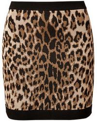 Balmain Leopard Print Knit Mini Skirt