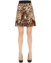 Dolce & Gabbana Leopard Printed Wool Cloth Mini Skirt