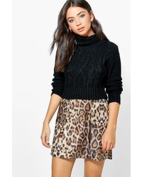 Mischa textured woven leopard a line mini skirt medium 3649830