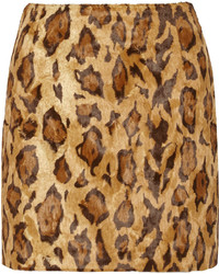 Shrimps Kitten Leopard Print Faux Fur Mini Skirt