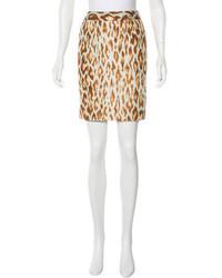 Christian Dior Silk Leopard Print Skirt