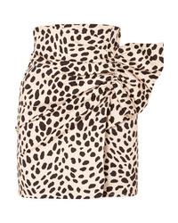 Silvia Tcherassi Willow Gathered Leopard Print Stretch Cotton Mini Skirt