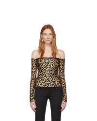 Halpern Tan And Black Leopard Bare Shoulder Top
