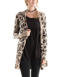 Brown black leopard open cardigan medium 3649722