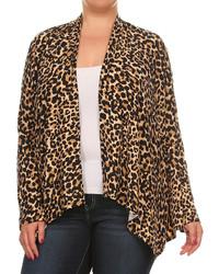 Leopard Open Cardigan Plus