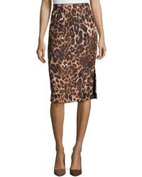 Lafayette 148 New York Leopard Print Jacquard Pencil Skirt Blackmulti