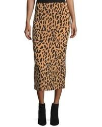 Leopard print tailored midi pencil silk blend skirt medium 5146463