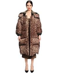 Dolce & Gabbana Oversized Leopard Nylon Puffer Jacket