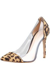 Gianvito Rossi Leopard Print Calf Hair Pvc Pump