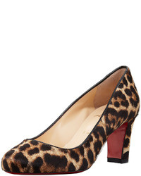 Christian Louboutin Mistica Low Heel Calf Hair Red Sole Pump Leopard
