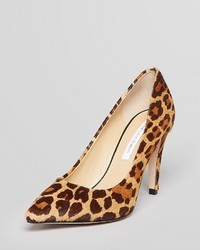 Diane von Furstenberg Pointed Toe Pumps Anette Leopard High Heel