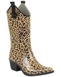 Leopard Print Cowboy Rainboots Tan