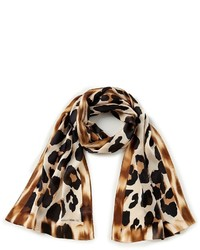 Vince Camuto Blur Leopard Print Oblong Silk Scarf