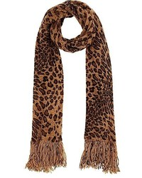 Barneys New York Leopard Print Knit Scarf