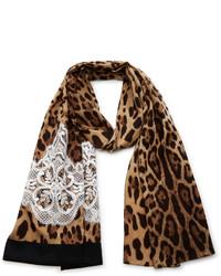 Dolce & Gabbana Leopard Print Silk Headscarf
