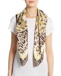 Roberto Cavalli Silk Chain Leopard Print Scarf