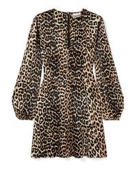 Ganni Blakely Leopard Print Satin Mini Dress