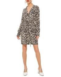 Topshop Leopard Print Pajama Shirtdress