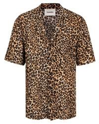 Nanushka Leopard Print Short Sleeve Shirt