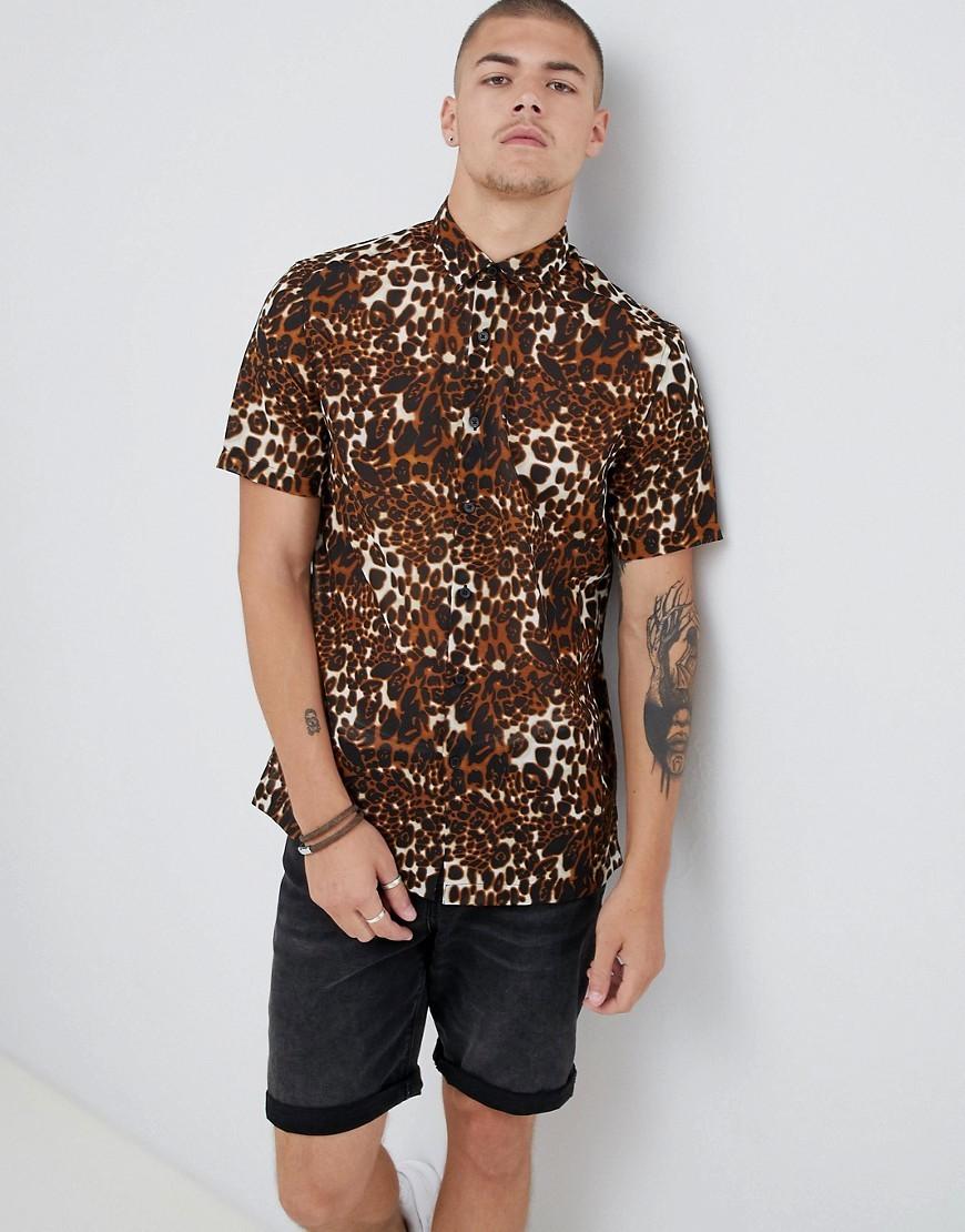 81f956dbdf37 ... ASOS DESIGN Regular Fit Sheer Leopard Animal Print Shirt In Brown