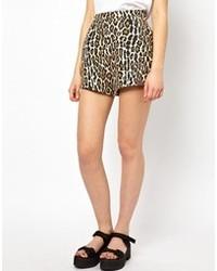 Tan Leopard Shorts