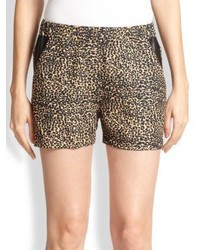 The Kooples Leopard Print Leather Shorts