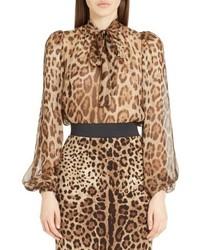 Dolce & Gabbana Dolcegabbana Leopard Print Silk Tie Neck Blouse